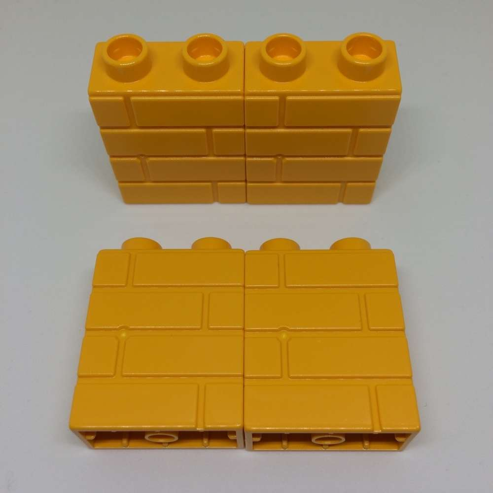 Lego Duplo 4 Stück Bausteine Mauer Dunkles Gelb 1x2 Noppen Neu